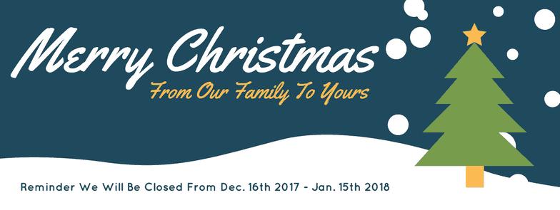 Merry Christmas - Winter Closure